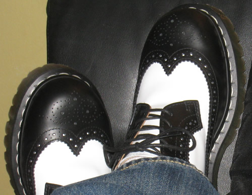 doc martens black and white wingtips