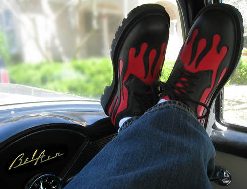 joe's garb shoes - black and red hot rod (flames), lounging in a 1955 chevy bel air